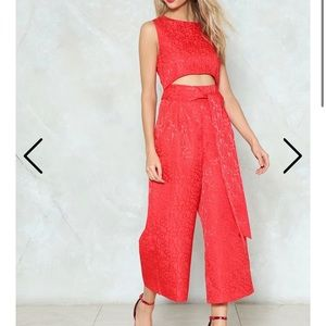 Bright Red Cut-Out Jumpsuit